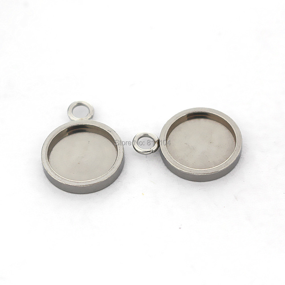Stainless Steel 10mm 11mm Round Bezel with a Loop Strong Pendant Blanks Resin Cameo Cabochons Bases