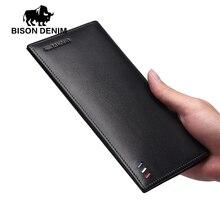 Bison denim lange brieftasche männer echtes leder-mappen, dünne weiche kupplung geldbörsen, männlichen kartenhalter für männer geschenk N4391