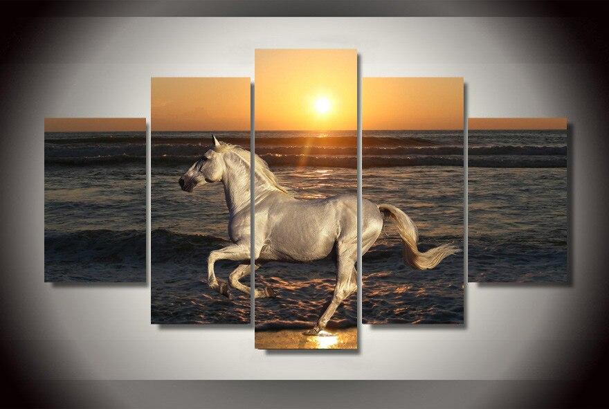 Hd stampa 5 pz su tela cavallo pittura moderna casa for Decorazione di casa