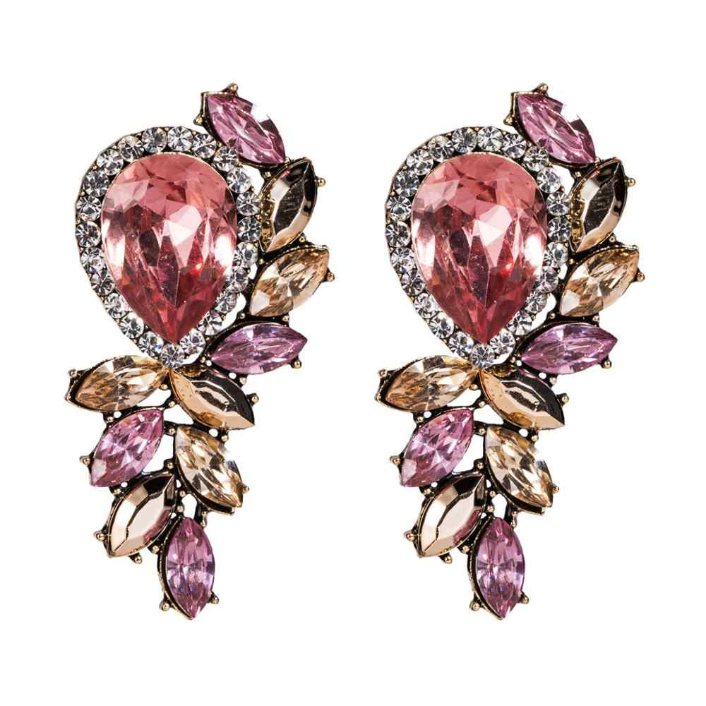 Pink rhinestone earrings for women Blue summer flower Sparkly statement earrings 2019 woman trendy crystal fashion jewellery
