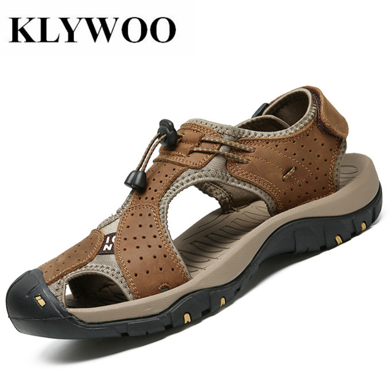 KLYWOO Brand Summer Genuine Leather Sandals Men Casual Shoes Outdoor Beach Shoes Native Male Rubber Sole Mens Beach Sandals