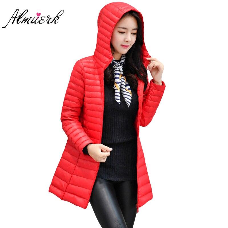 2017 Coréenne style Plume coton veste d'hiver femmes slim Capuche parkas manteau Moyen long survêtement d'hiver femmes rouge noir yz431