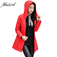 2017 Korean style Feather cotton jacket winter women slim Hooded parkas coat Medium long outerwear winter women red black yz431