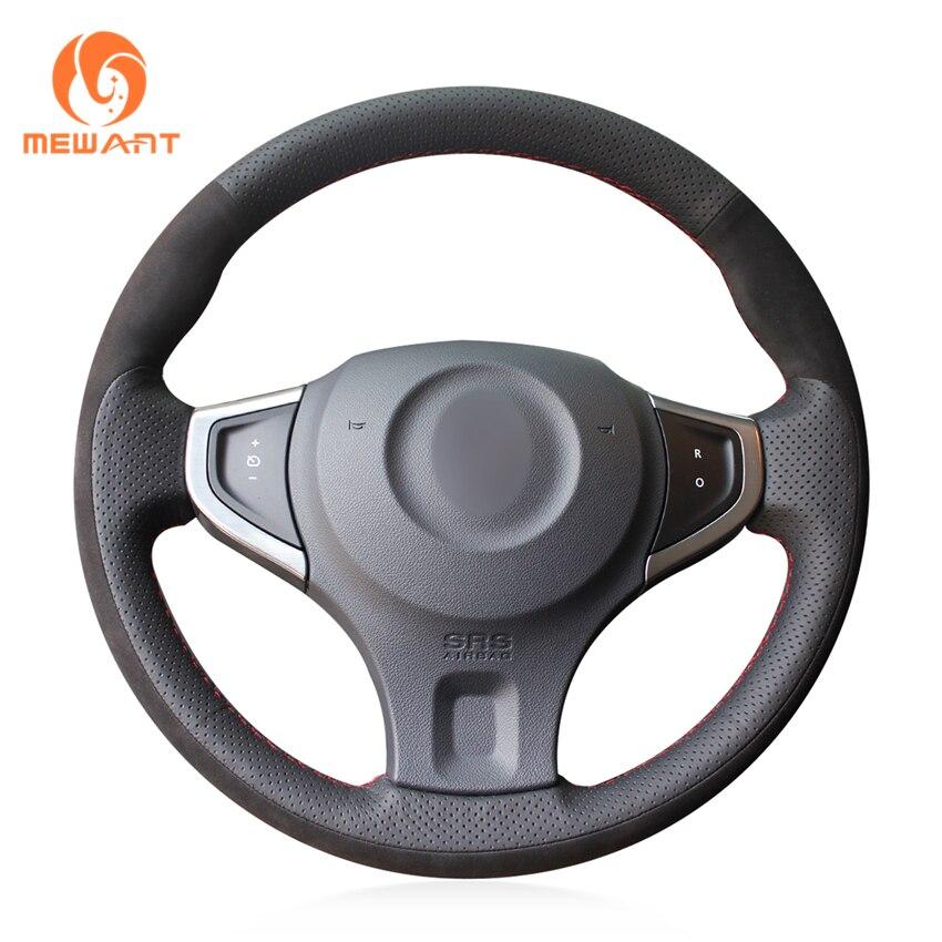MEWANT Black Genuine Leather Black Suede Car Steering Wheel Cover for Renault Koleos 2009-2014 Samsung QM5 стоимость