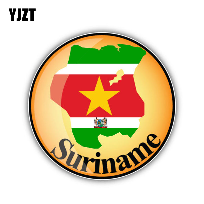 YJZT 12.5CM*12.5CM Car Sticker Suriname Flag Map Reflective Window Decal 6-1461