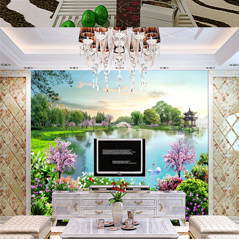 3D Custom Wallpapers Nature Landscape Wall Murals Chinese Style Lake Flowers Forest Photo for Living Room TV Backdrop Home Decor custom photo wallpaper 3d green forest nature landscape large murals living room sofa bedroom modern wall painting home decor