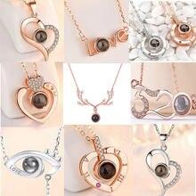 Amor memória jóias 100 idiomas eu te amo projeção charme colares de cristal não-desvanecimento pingente colar para jóias femininas