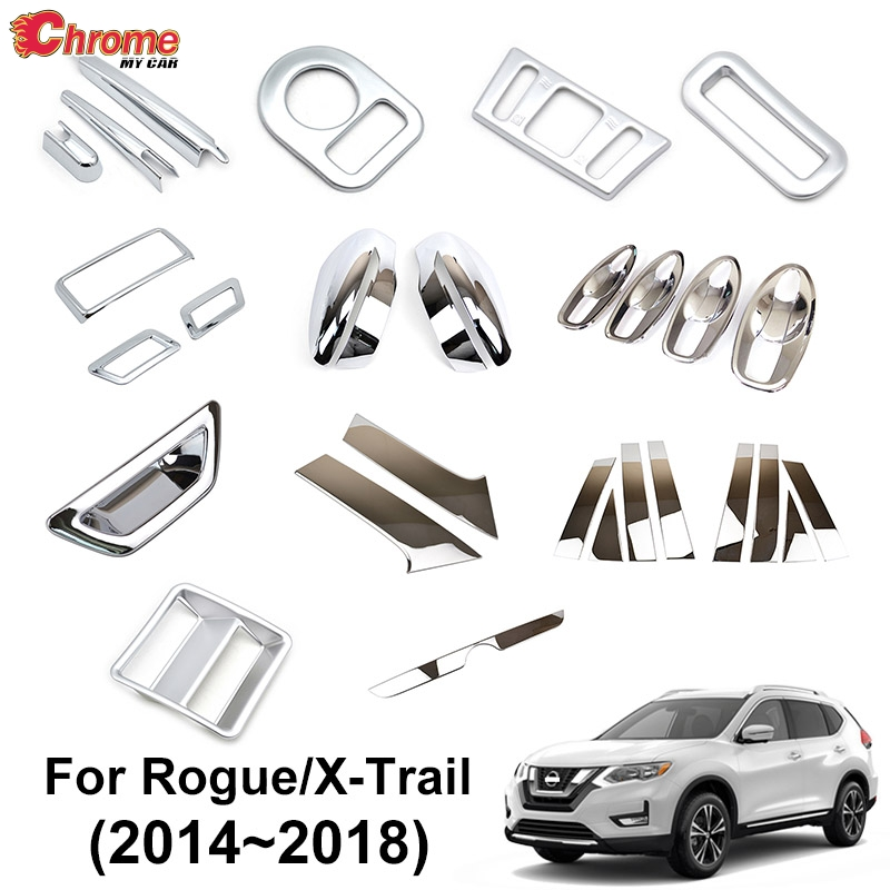 For Nissan Rogue X-Trail T32 2014 2015 2016 2017 2018 Chrome Side Mirror Light Switch Air Vent Cover Trim Decoration Car Styling
