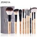 Zoreya marca 10 unids cepillos de cosméticos de color rosa fuerte la captura de polvo de maquillaje belleza herramienta de maquillaje set envío gratis