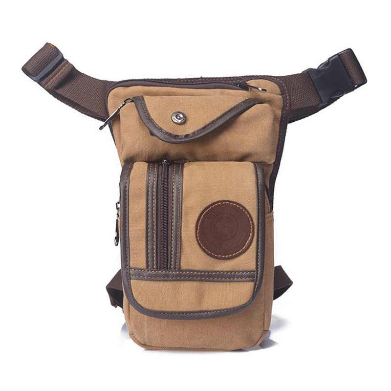 Norbinus hommes taille Fanny Pack toile goutte jambe sac Hip Bum militaire moto cuisse ceinture pochette Messenger épaule sac à bandoulière