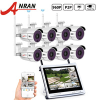 ANRAN P2P 8CH WIFI NVR 12 Inch LCD Screen 36 IR Outdoor Waterproof Security 1 3MP