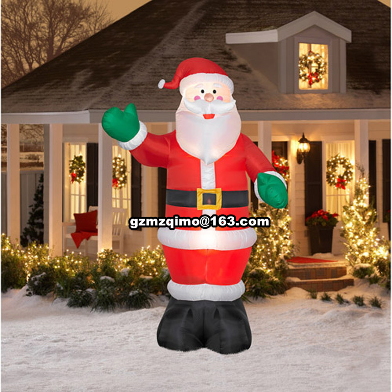 MZQM 1.8m Inflatable Santa Claus Waving Hand Christmas Inflatable Santa Claus Cute Xmas Decoration Outdoor Inflatable Statues