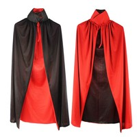 Vampire Cloak Halloween Dracula 140CM Costume Cape Dress Dance Party Activities Christmas for Adult Child Black Red