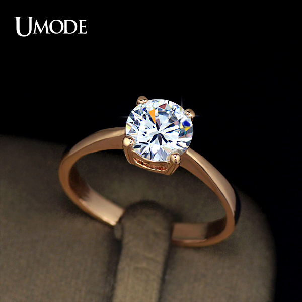 Detail Feedback Questions about UMODE Rose Gold Color 4 Prongs 1.25 Carat  Single CZ Shiny Stone Simple Engagement Rings JR0136A on Aliexpress.com  48c9a309d10d