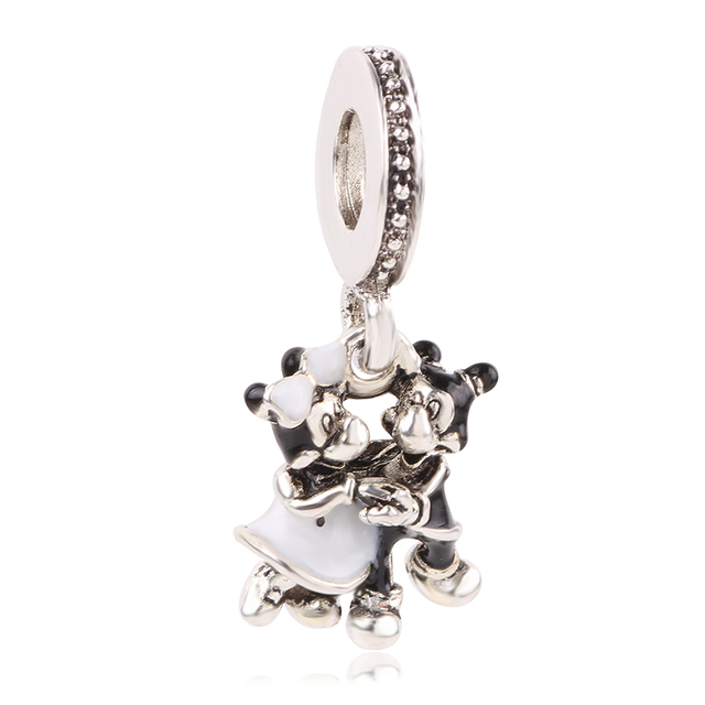 New Original Free Shipping Silver Color Bead Mickey Fairytale Dumbo Love Charm Fit Pandora Bracelet Necklace DIY Women Jewelry