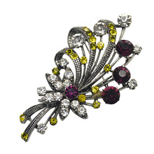 Урожай rhinestone цветок броши для женщин ювелирные изделия свинец партия аксессуары красочный светит брошь pin подарок