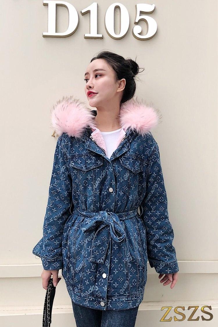 Femmes long rembourré imprimer vestes en denim parkas manteau d'hiver