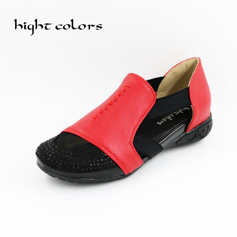 Summer New 2017 Fashion Round Toe Women Flats Moccasins Comfortable Woman Shoes Cut-outs Crystal Flat Woman Casual Shoes DXM-59 new fashion 2016 summer korean style woman flats cut outs breathable bowtie flat single shoes sweet concise casual flats st385