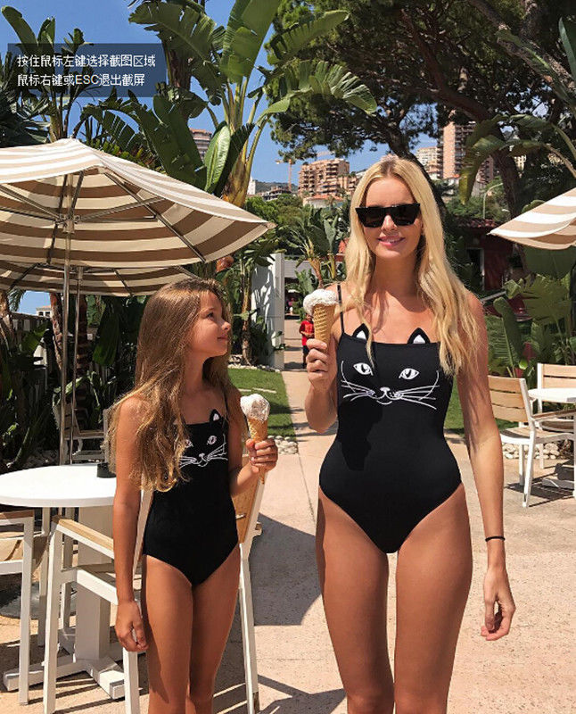 2018 New Baby Kids Girls Cartoon Swimwear One-Piece Swimsuits Cat Printed Swimsuits Beachwear 1-11 Fits