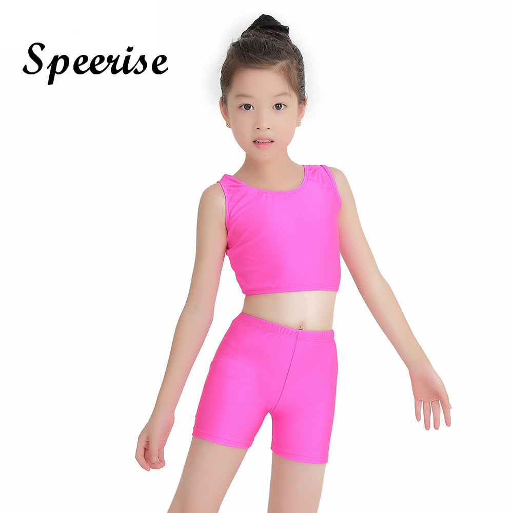 Speerise Girls 2-Piece Gymnastics Dance Tank Top & Shorts Activewear Set Lycra Spandex Bodysuit Ballet Dance Costumes