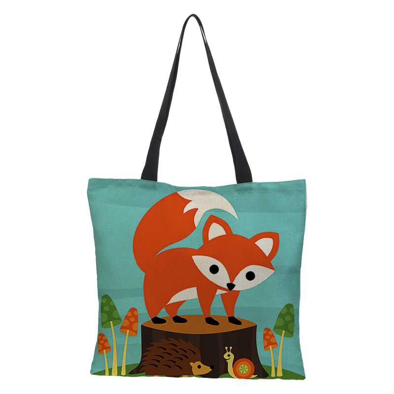 Handbag Ladies Can Be Customized Shoulder Bag Linen Bag Double-sided Printing 2018 Features Custom Animal Fox Pattern Cartoon