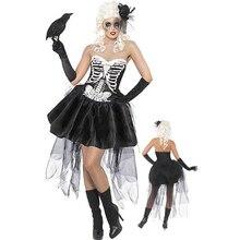 Tubo Superior Falda Corta Cosplay de halloween Esqueleto Humano Servir Errante Fantasma Discoteca Queen Cosplay