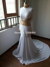 Elegante Lange Abendkleider 2015 Tatsächliche bilder Weiß Prom Kleid Mit Gold Perlen Mermaid Long Sleeve High Neck Abendkleid