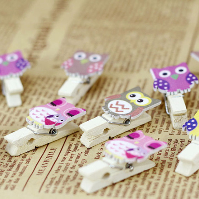 10pcs Mini Clothespins Decorative Owl Wooden Kids Baby Clothes Pegs
