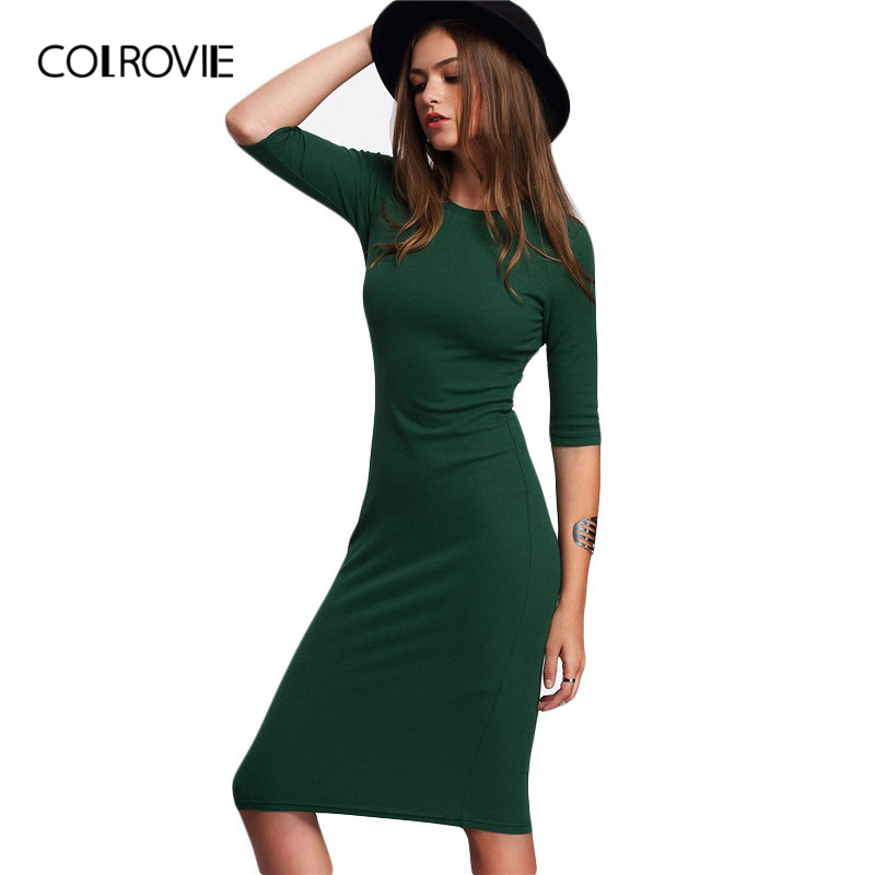COLROVIE Work Summer Style Women Bodycon Dresses Sexy Casual Green Crew Neck Half Sleeve Midi Dress|women bodycon dress|bodycon dressmidi dress - AliExpress
