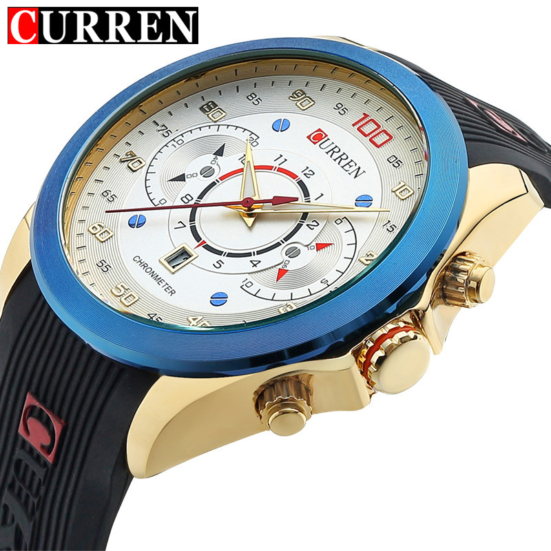 Curren Mens Watches Top Brand Luxury Men's Sports Quartz Watches Silicone Wristwatches Relogio Masculino Men Curren Watches 2016 relogio masculino original curren wristwatches mens watches top brand luxury silicone sports watches military army waterproof