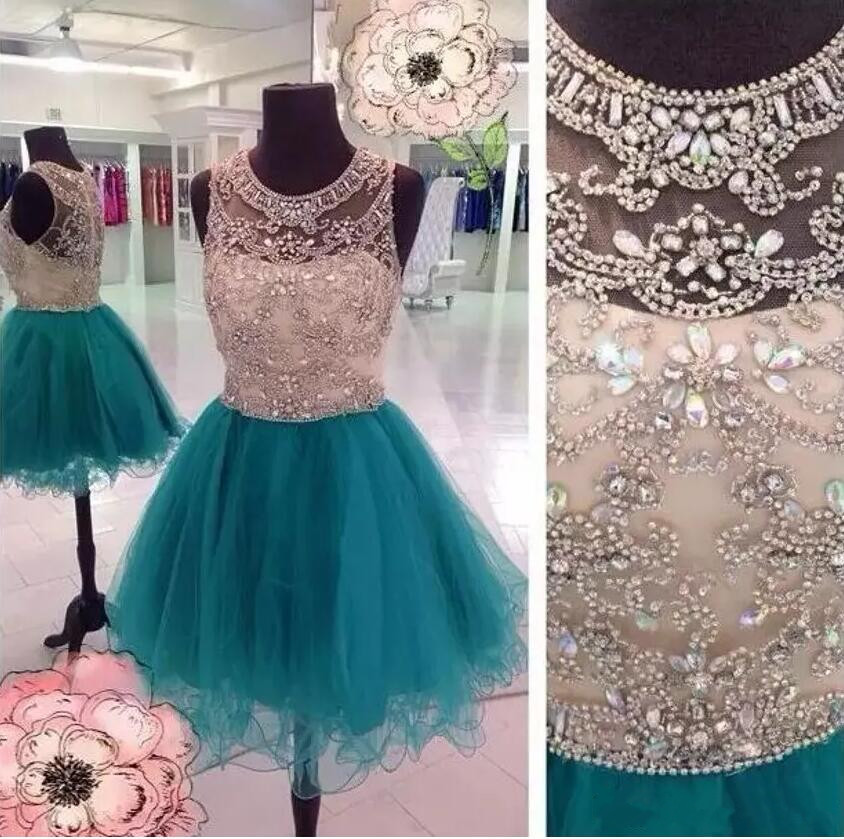 Jewel Neck New Girls Dresses With Beading Crystals Sequins A Line Tulles Girls Graduation Party Dresses Christmas Dress