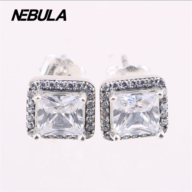 Original 925 Sterling Silver Timeless Elegance, Clear CZ Stud Earrings Compatible with Brand Jewelry