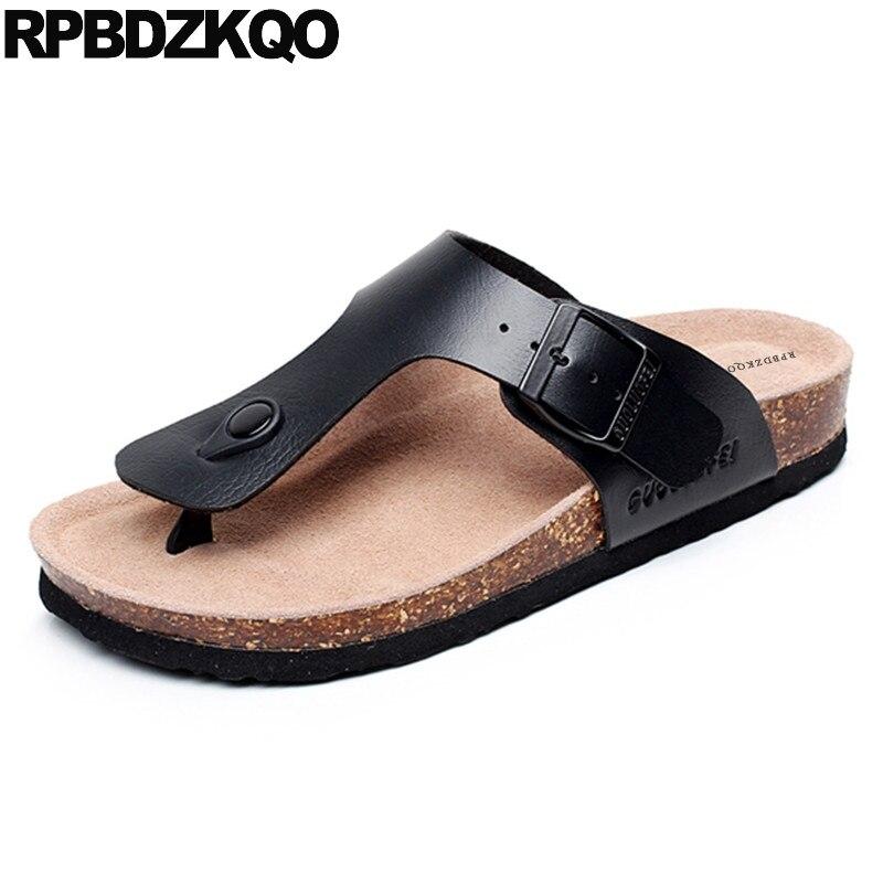 Slippers Size 45 Fashion Flip Flop Shoes Black Water Outdoor Waterproof Beach Slides 2018 Men Sandals Leather Summer 46 Cork