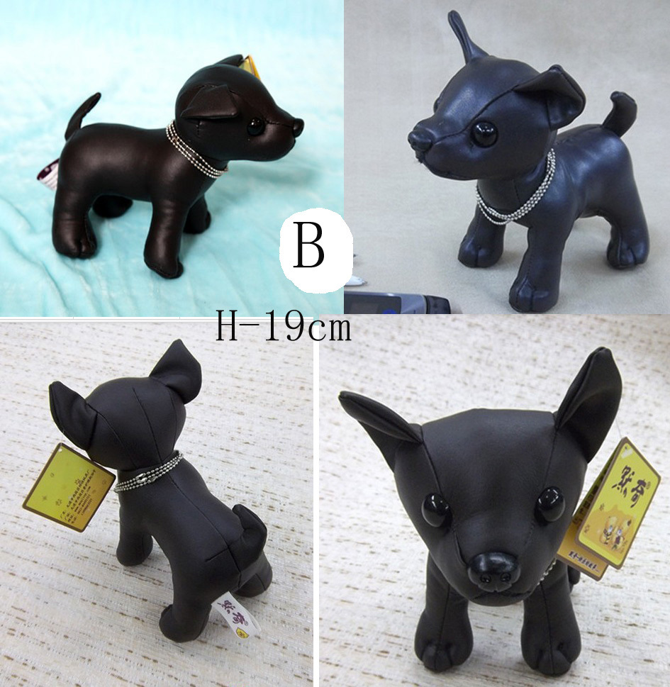 Chihuahua New Plush Pu Leather Black Dog Toy Doll Handmade Stuffed