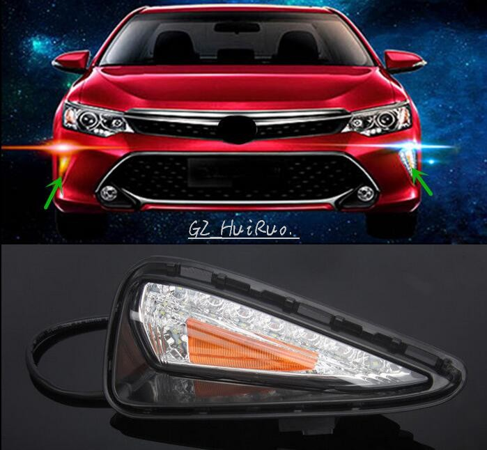 12V Turn Signal LED Daytime Running Light for Toyota Camry 2015 2016 DRL With Fog Lamp New Car Styling High Quality