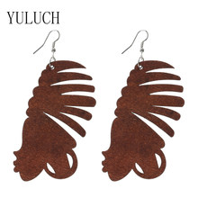 YULUCH Ethnic Wood Print Brown Humanoid Girl Street Shot Minimalistic Earrings For Woman Art Earrings(China)
