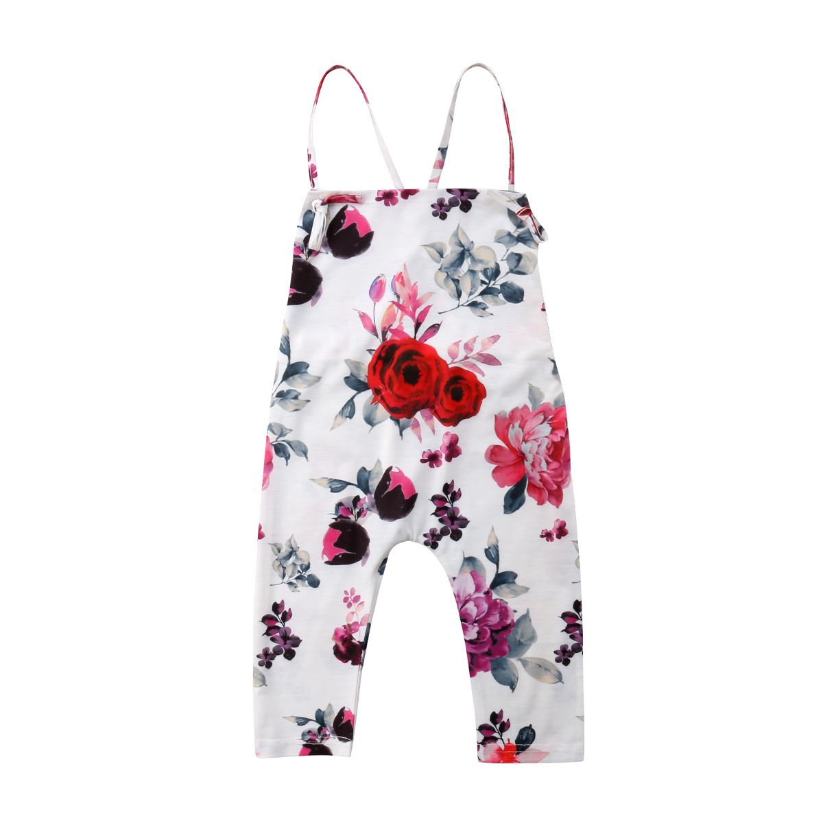 1-6Y Kids Baby Girls Floral Romper Sleeveless Summer Baby Girl Jumpsuit Girls Flower Clothing