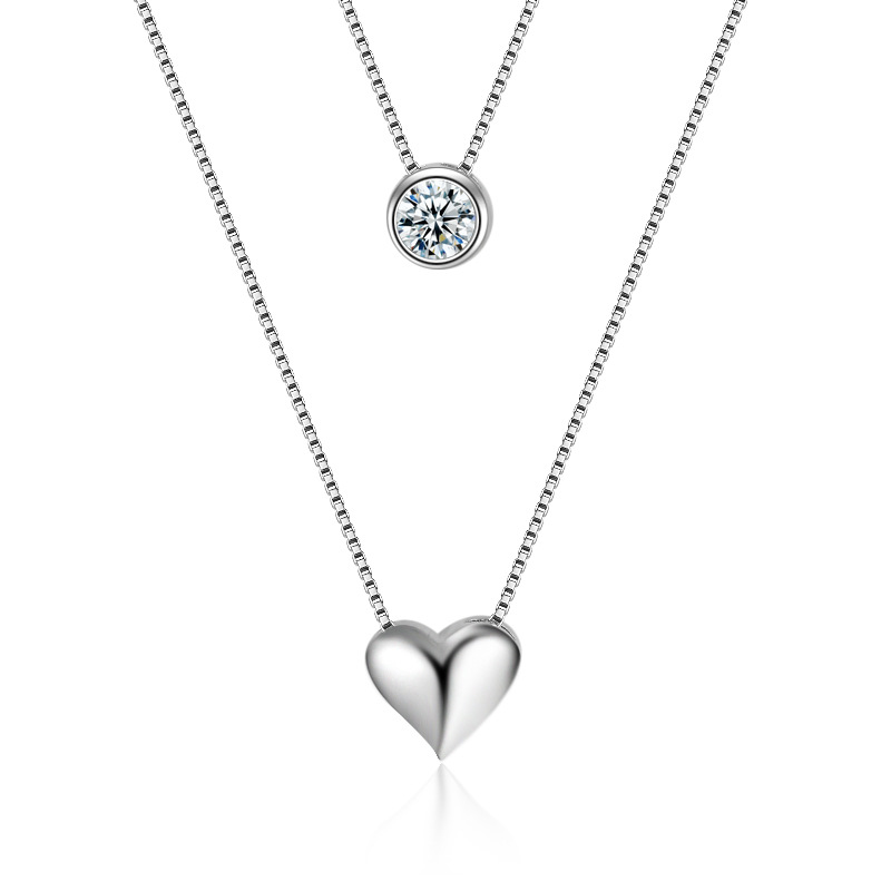 925 Sterling Silver Heart Design Shiny Zircon Pendant Necklaces for Women Jewelry Gift 2017 New Hot Sale Wholesale Necklaces