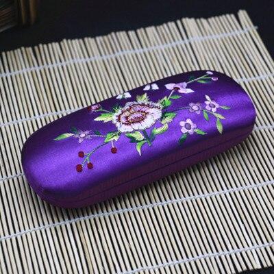 Высококачественная коробка ручной работы с двойной вышивкой, футляр для хранения очков, тонкая вишня, настоящая шелковая парча, Подарочная коробка, пенал - Цвет: Сливовый