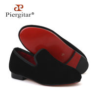Piergitar 2018 Handmade kid velvet plain shoes Party and Wedding Children loafers Colorful velvet choose Kid's banquet shoes
