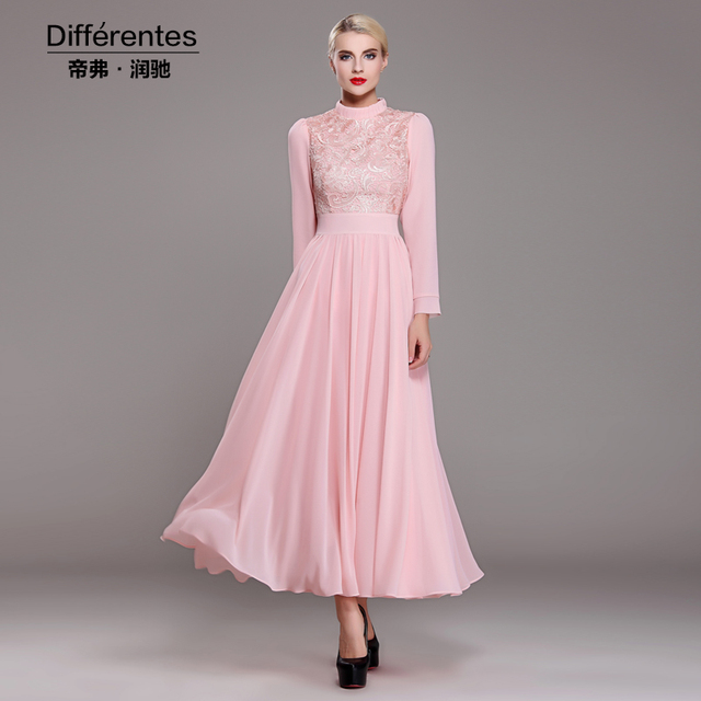 9ee87a7af2c Pink lace long sleeve ruffles expansion bottom full maxi swing plus size  dress chiffon casual vintage novelty party slim dress