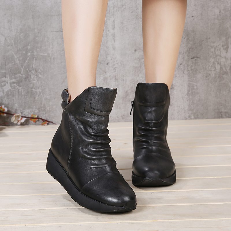 VALLU 2018 Vintage Handmade Women Shoes Platform Flat Boots Round Toes Pleated Genuine Leather Ankle Boots 2018 vallu new leather shoes women ankle boots round toes buckle zipper handamde vintage flat platform ladies boots