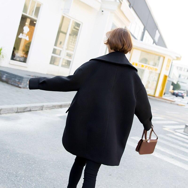 longueur Ioqrcjv Double D'hiver Boutonnage Manches De Manteau Haut Black À Survêtement Femmes Laine parleur F25 Élégant Occasionnel Moyen Mélangée Costume Col SXUUPFw