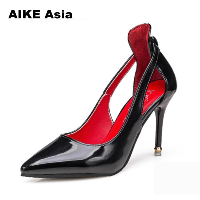 white red Bowtie Découpes Hauts Chaussures gray Nouvelle Automne 2018 Bout Profondes 169 Cuir Cm pink Black Pointu Peu Talons En Mode 9 Solide Sexy Pompes Femmes Verni Fq7wq4Og