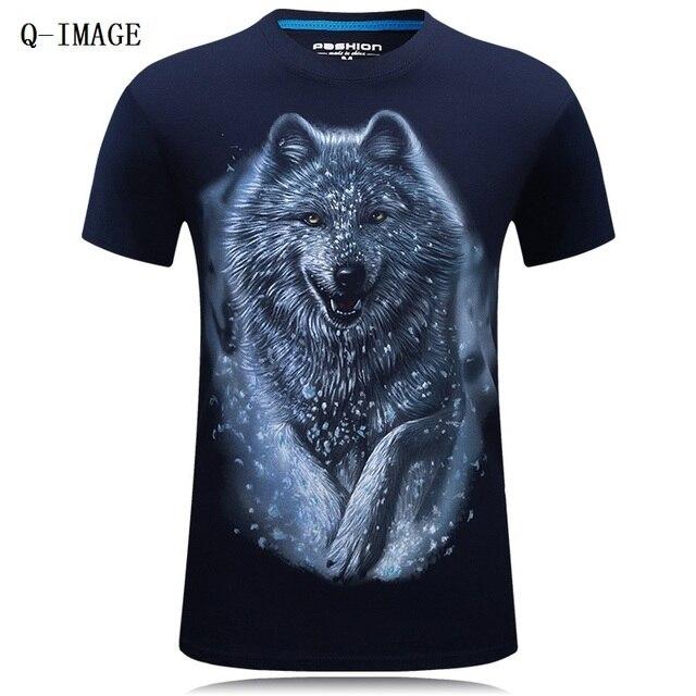 Горячий Продавать 2016 Летний Новый 3D Волк Печатных Человек футболка 100% Хлопок Повседневная Марка Футболка Большой Размер S-6XL
