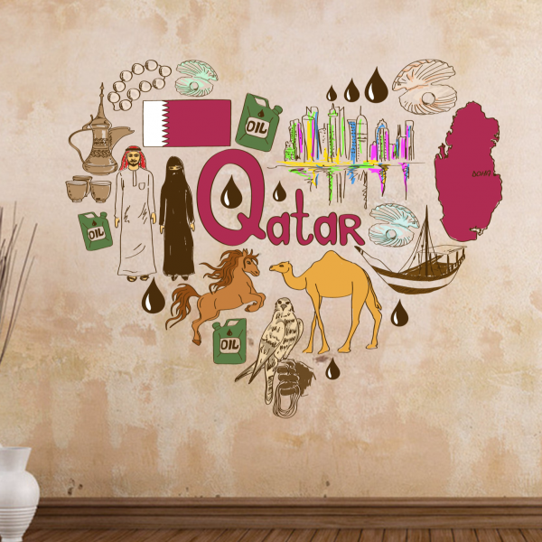 Qatar Illustration Travel The Word Landmark Wall Sticker Wedding Decor Vinyl Waterproof Wallpaper