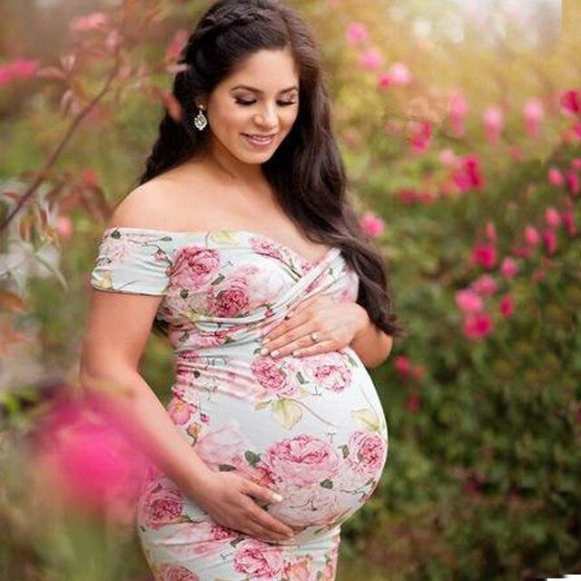 e67752d34bec5 Mochoo Floral Print Maternity Photography Props Dresses Summer Pregnancy  Clothes Maxi Dress Maternidade Fotografia Robe