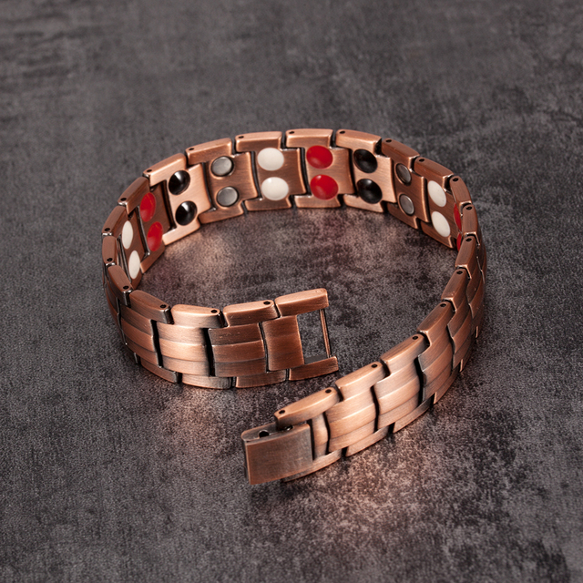 Vinterly Pure  Magnetic Bracelet Copper Vintage Hologram Chain & Link for Men 3