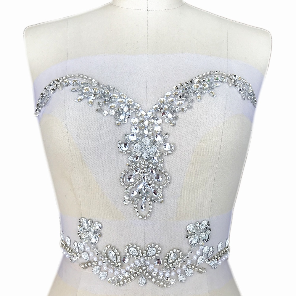 SPARKLE Silver V-Neck Neckline Crystal Appliques For Clothes Design Sewing Wedding Bridal Party Dress Chest Waist Decoration Diy
