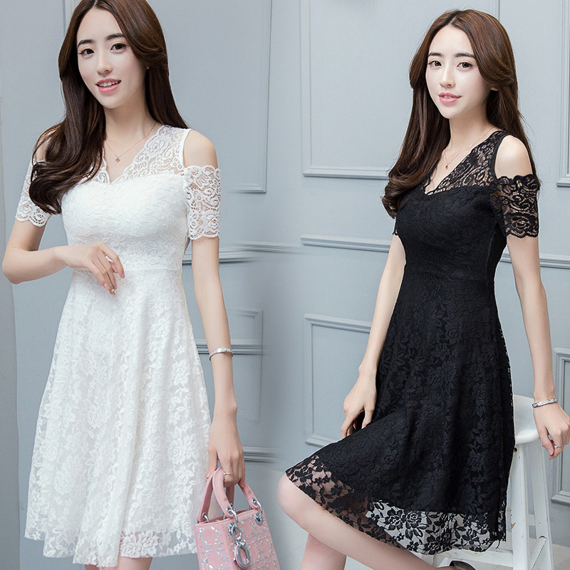 The 2017 summer lace dress dress strapless dress Korean fashion slim slim vest primer dress